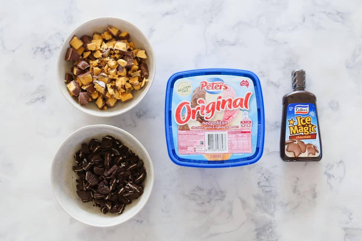 The ingredients for a chocolate and honeycomb ice cream cake.