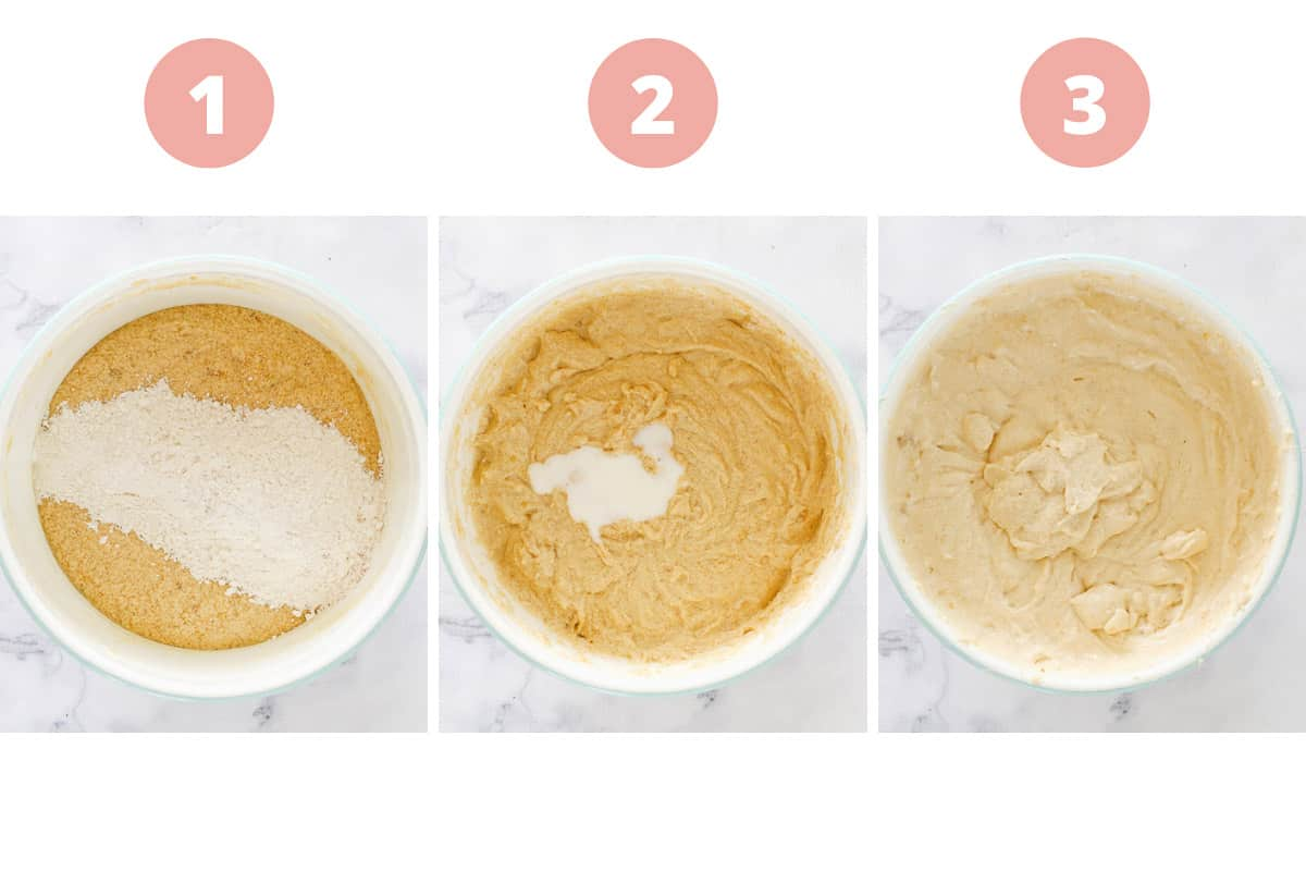 A collage of three steps showing dry and wet ingredients being added alternately.