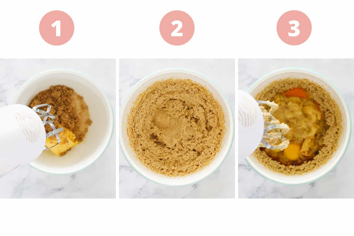 A collage of three steps showing butter, sugars, eggs and bananas being mixed.