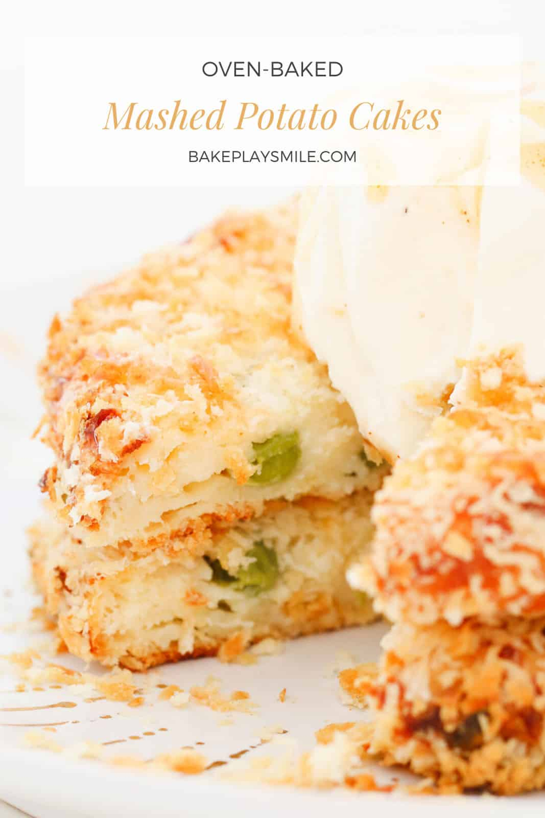 A Pinterest image with the text overlay 'Mashed Potato Cakes' in front of a stack of half eaten potato cakes.