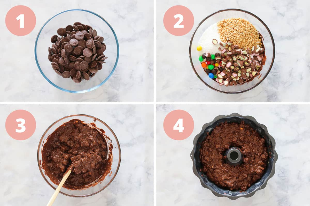 A collage showing four steps to making a Christmas rocky road wreath.