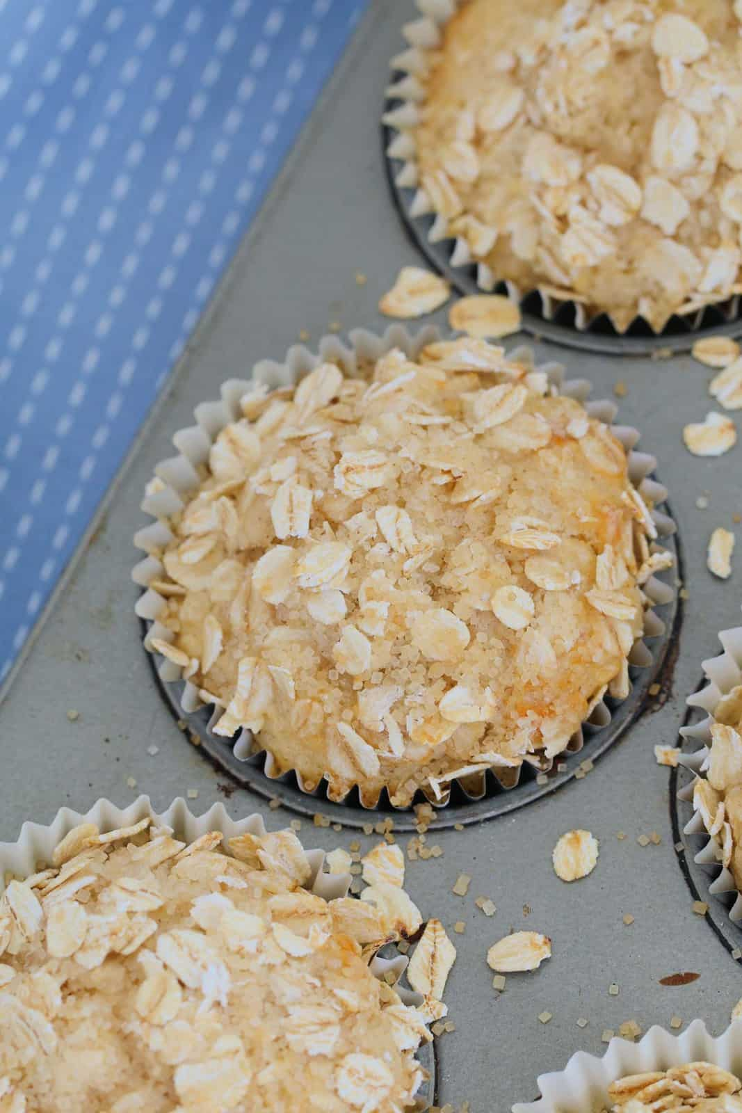 A close up shot of baked apple muffins with rolled oats sprinkled on top