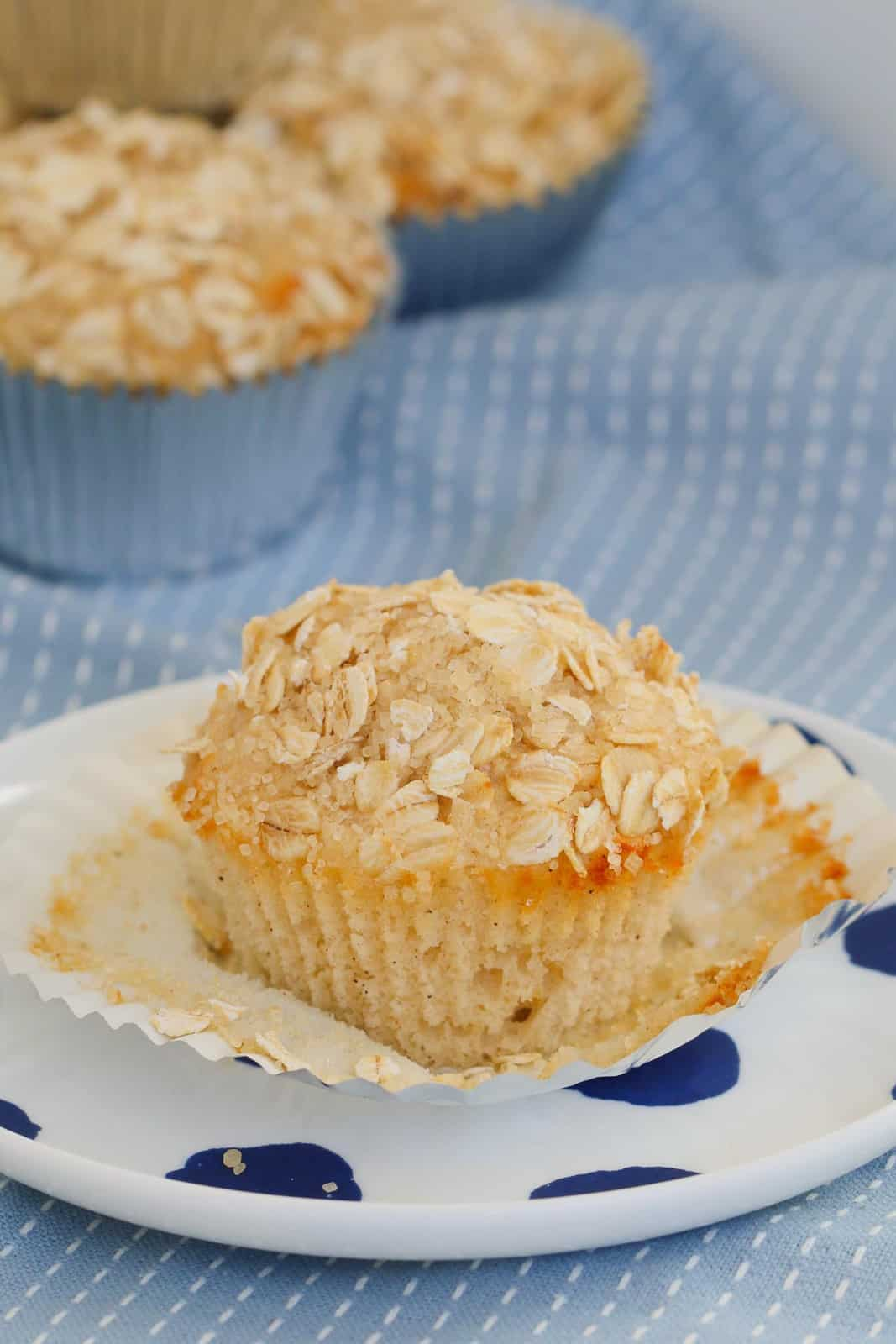 A closeup shot of an apple oat muffin on white plate with blue dots