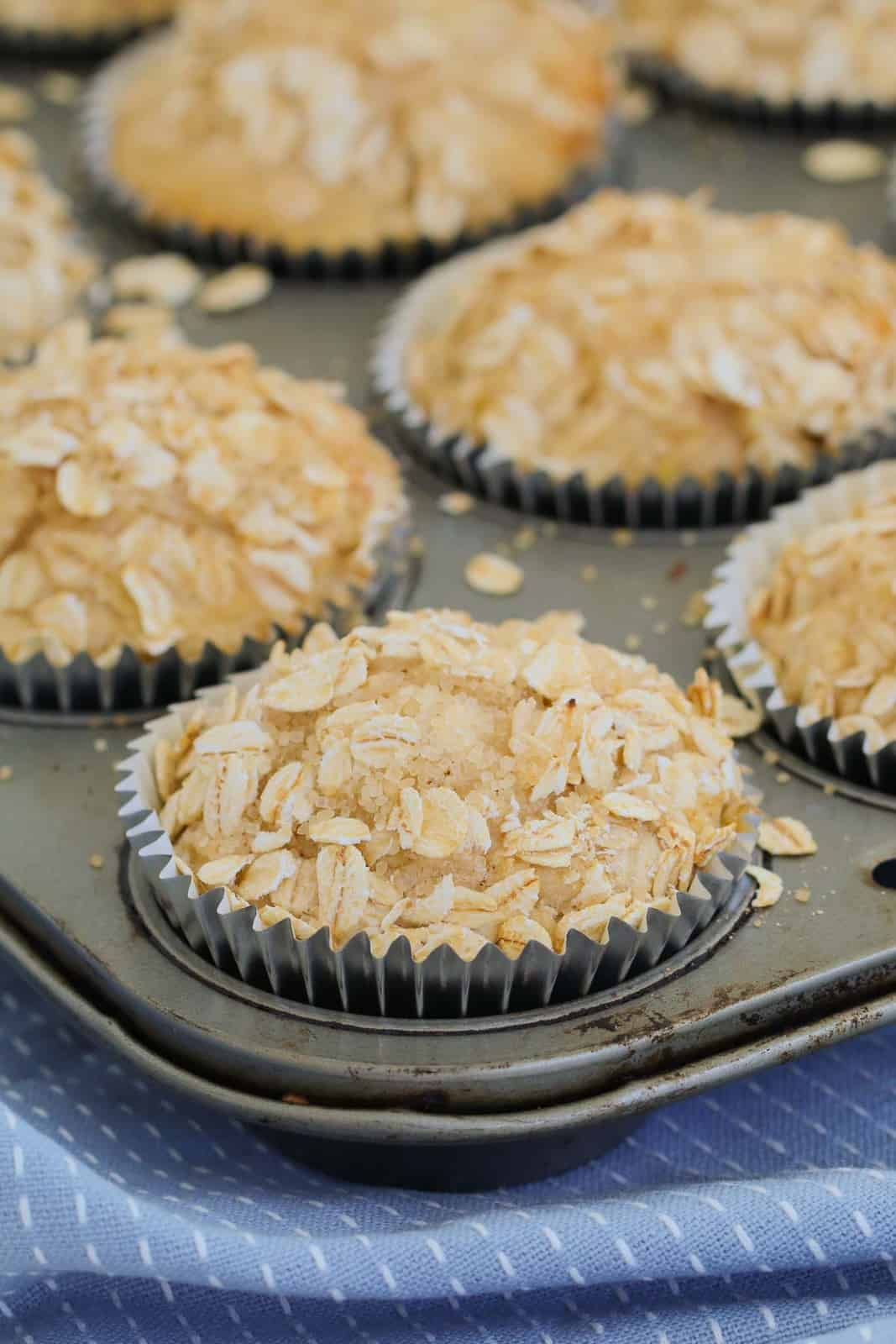 A close up shot of baked apple oat muffins in baking tin.