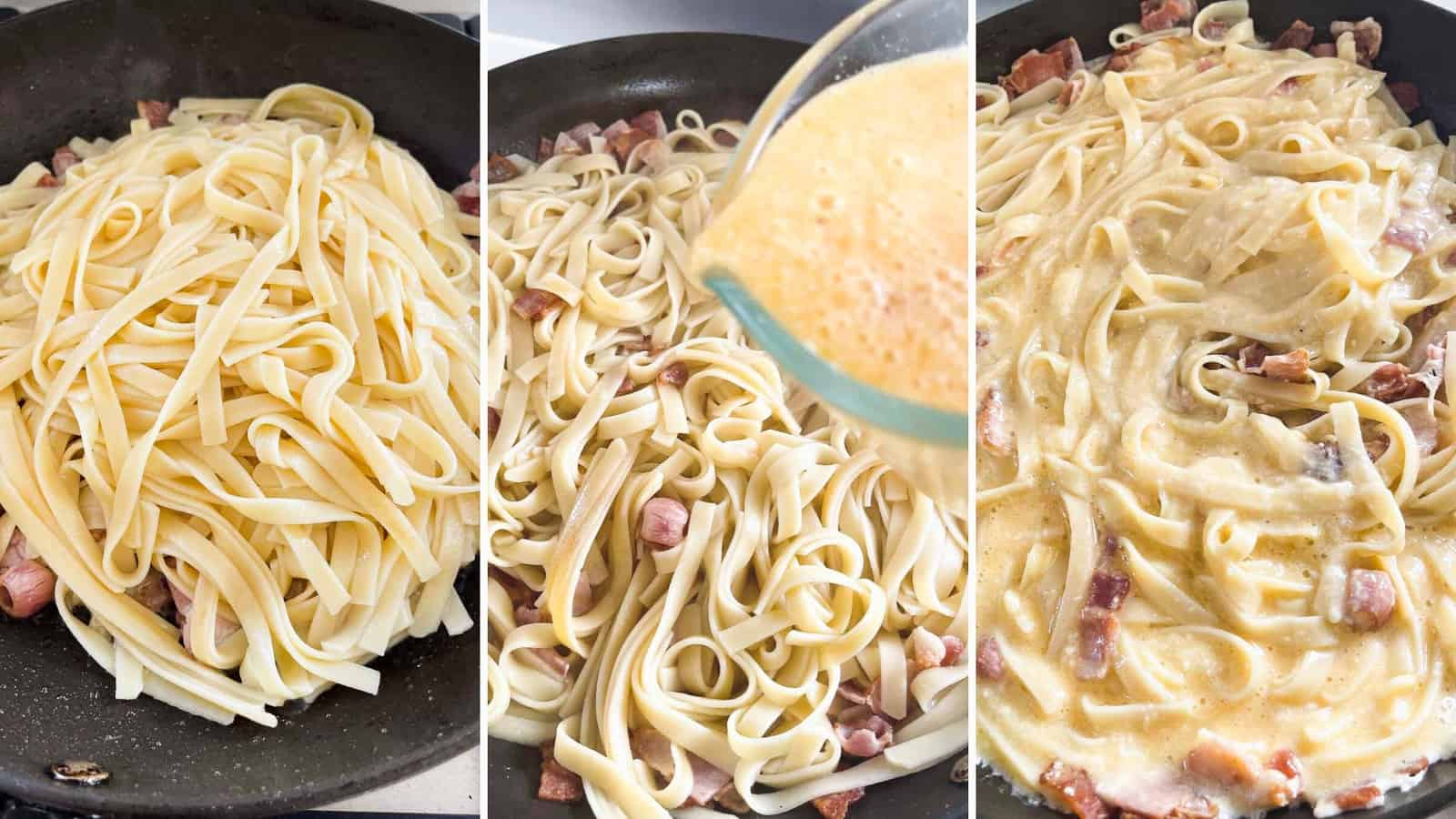 Step by step photos showing how to make fettuccine carbonara.