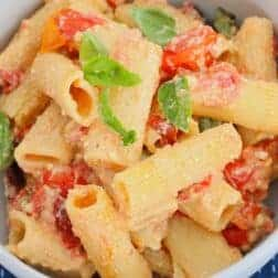 A bowl of tomato and basil creamy pasta.