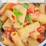A Pinterest image of a bowl of pasta with the text overlay TikTok pasta