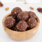 A Pinterest image of a bowl of bliss balls with the text overlay 'Healthy Bliss Ball Recipes'