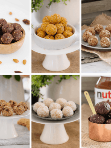 A collage of different varieties of protein bliss balls.