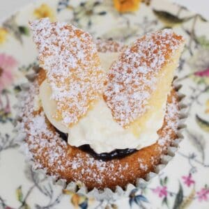 A butterfly cake dusted with icing sugar on a floral plate.