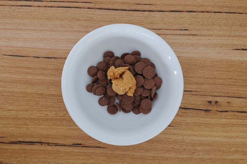 Peanut butter and chocolate in a bowl.