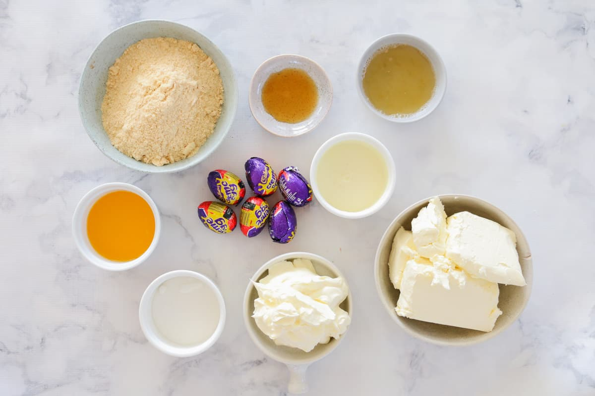 The ingredients for a Cadbury Creme Egg cheesecake.