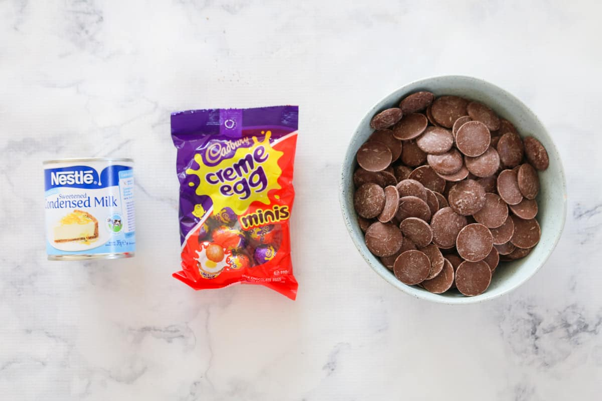 The ingredients for Creme Egg fudge.