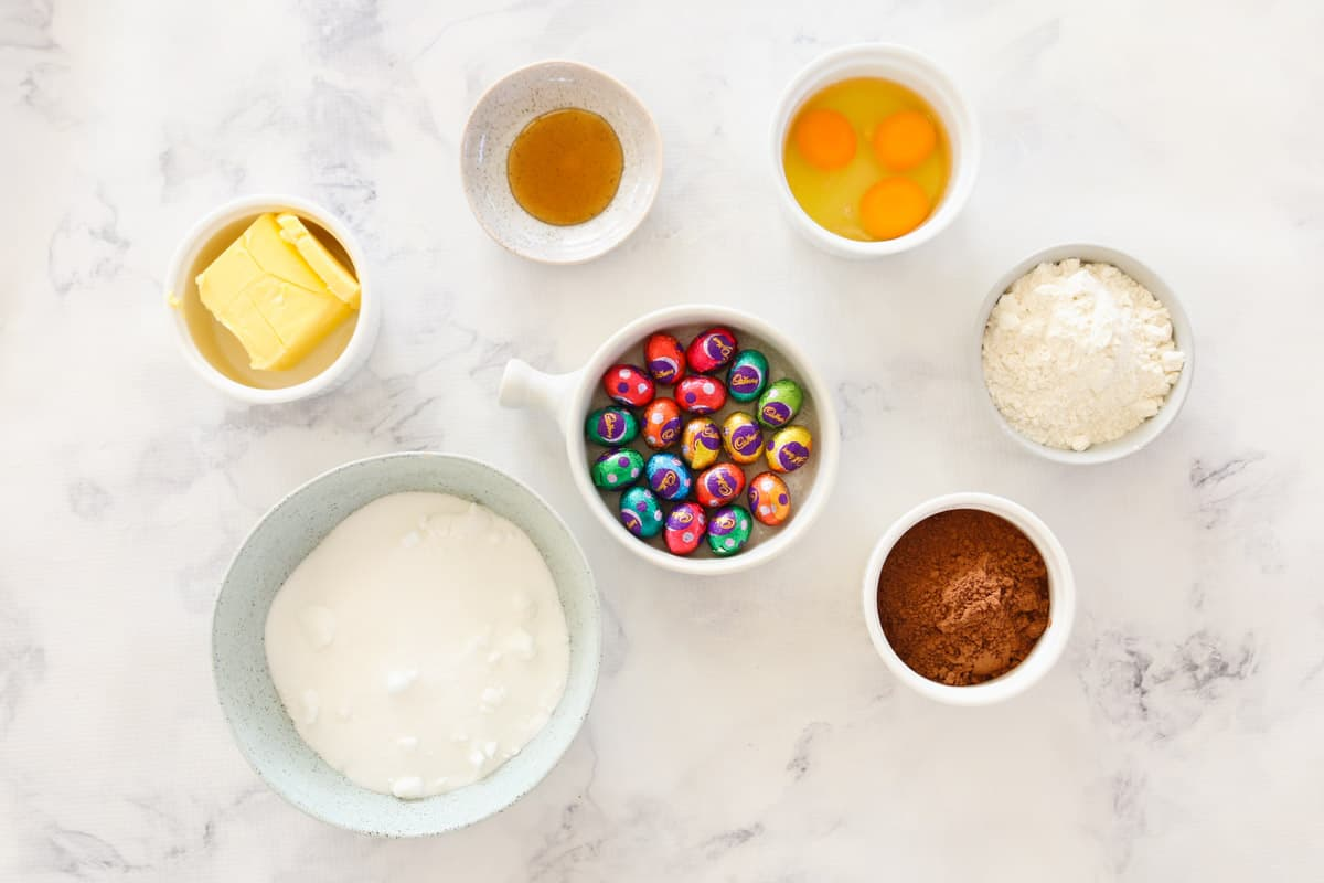 The ingredient for brownies made with mini solid chocolate Easter eggs.