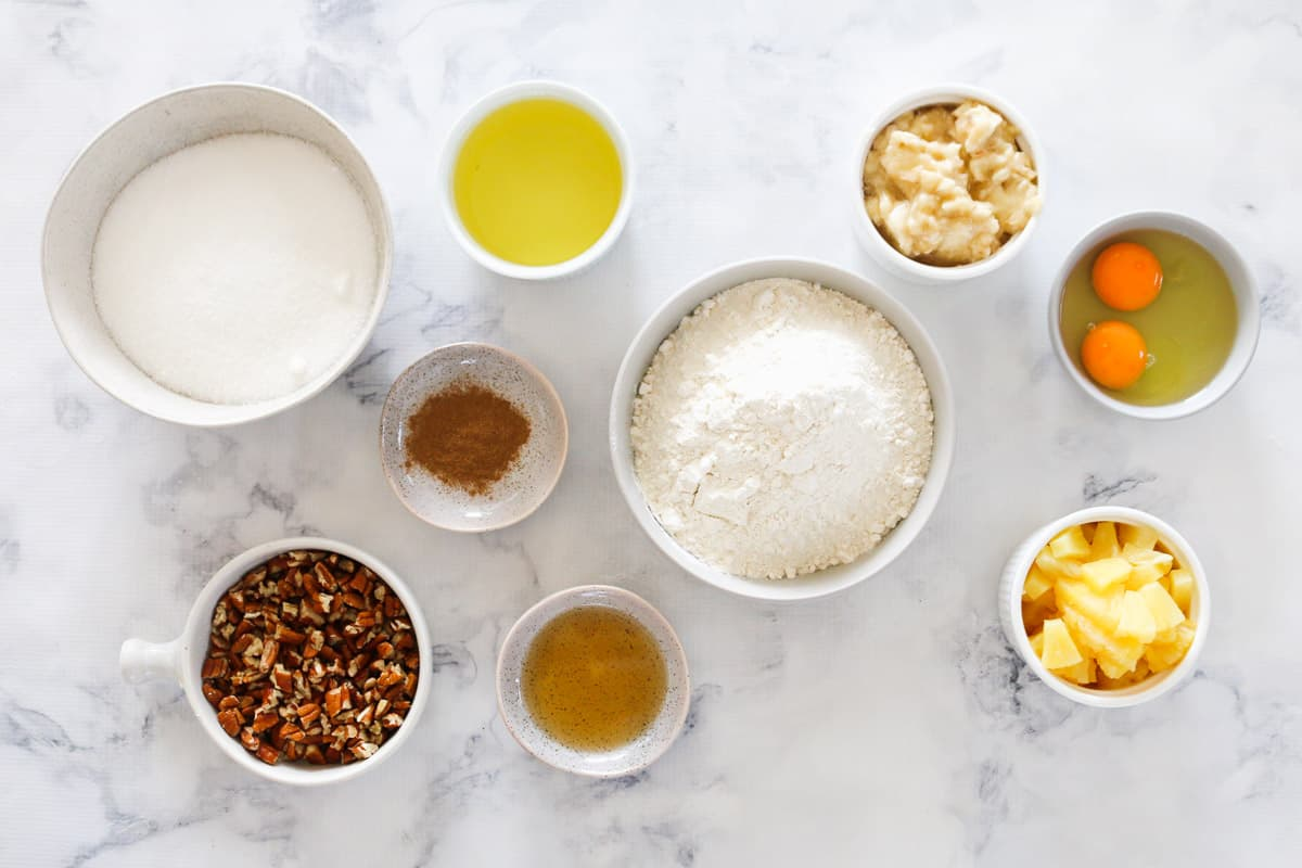 Top view of individual ingredients for hummingbird cake