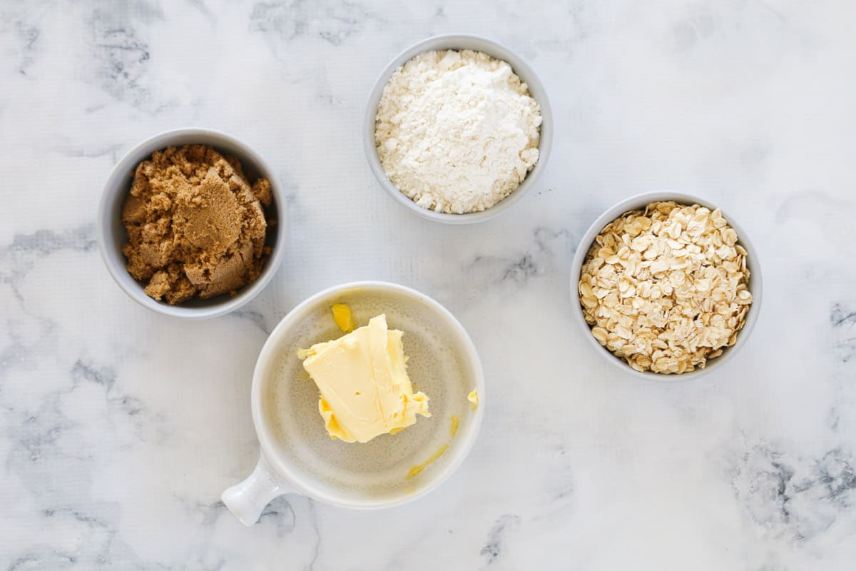 Ingredients for crumble in individual bowls