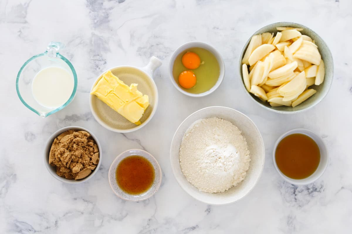 Ingredients for Apple Crumble Cake in individual bowls