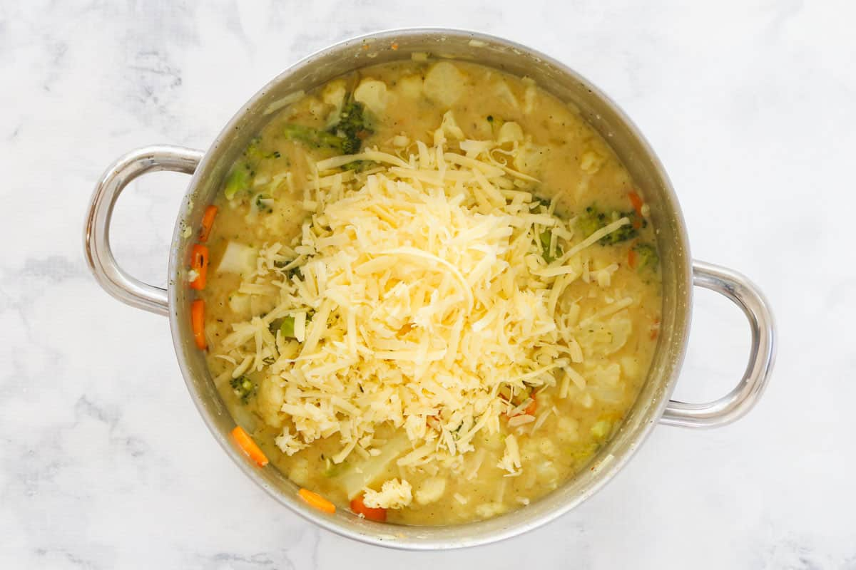 Grated cheese being added to a pot of mixed vegetable soup