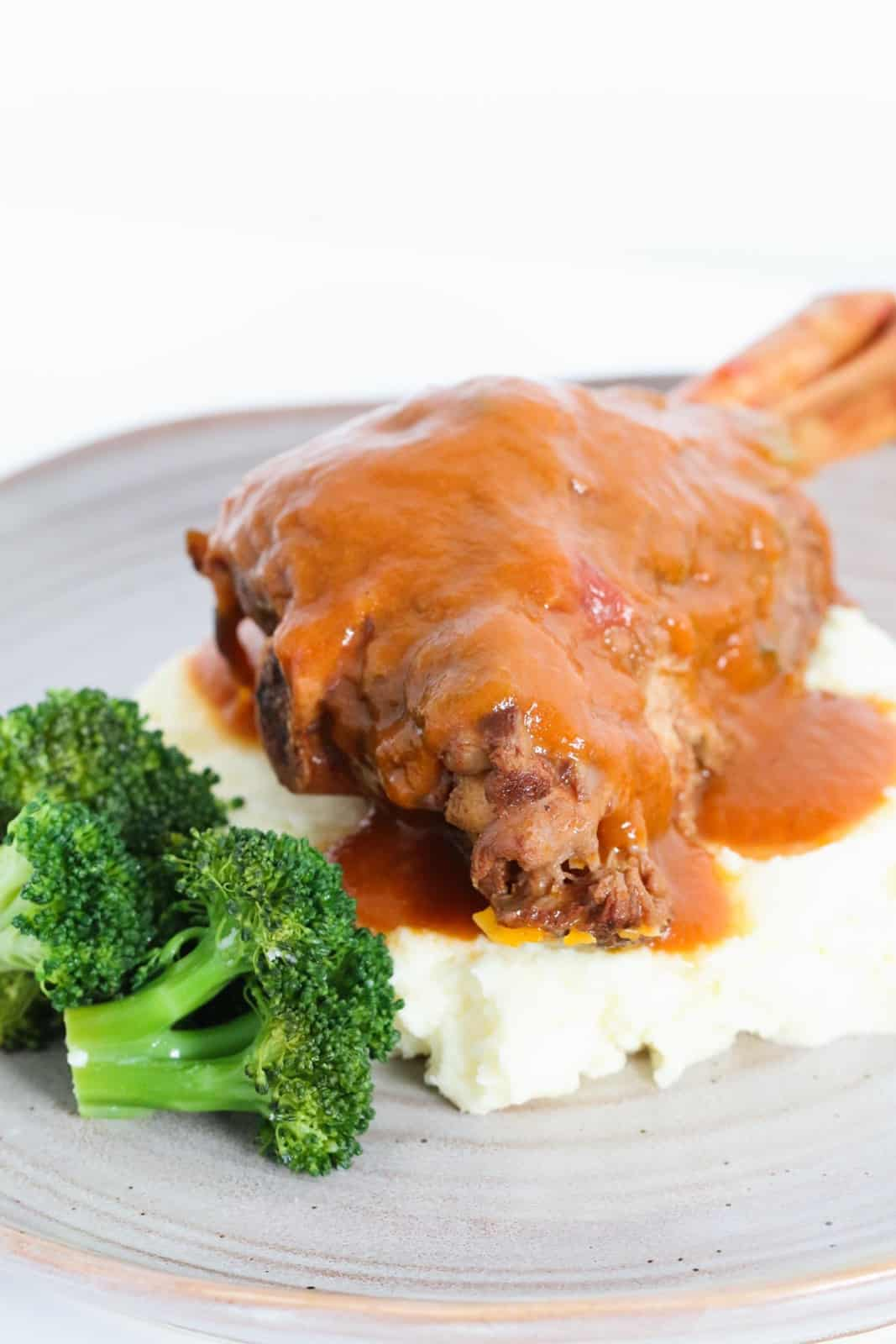 A lamb shank covered in a rich tomato gravy arranged on a bed of mashed potato with broccoli florets.