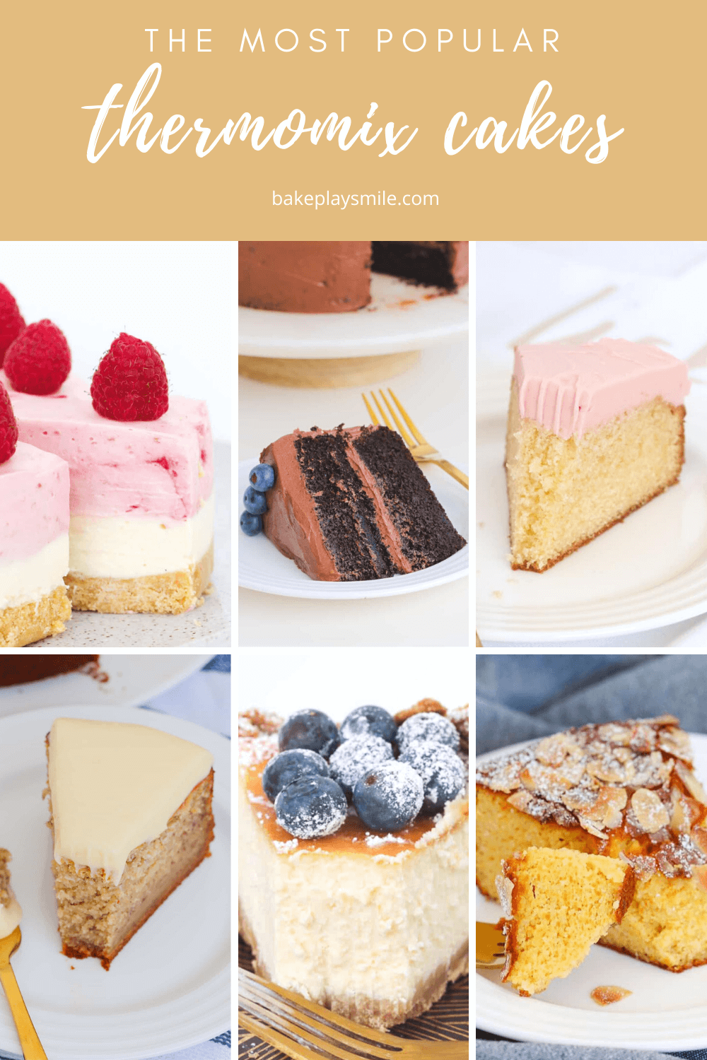 A collage of cakes made in a Thermomix kitchen machine.