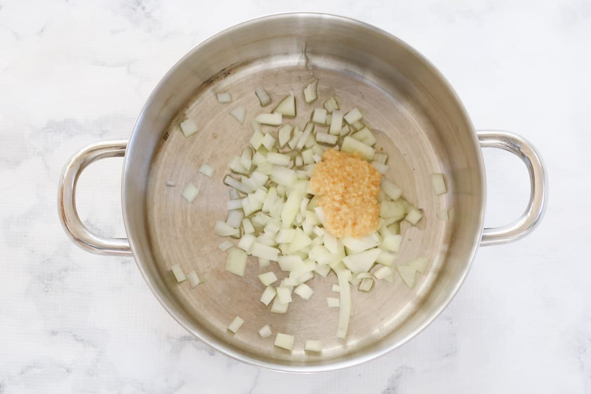 Oil, onion and garlic in a pot