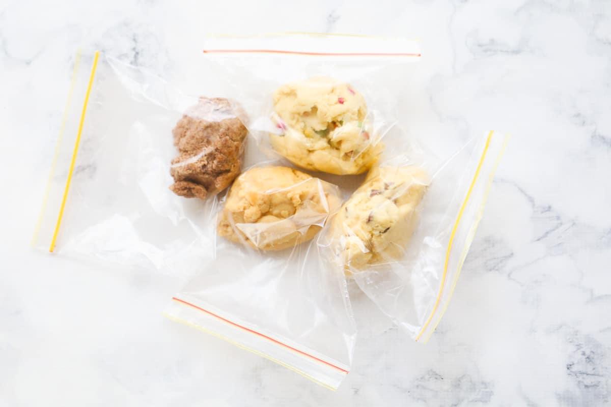 The 100 Cookie recipe dough in 4 separate plastic bags.