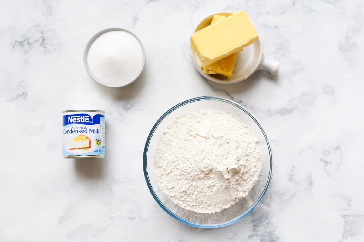The four ingredients for the famous 100 cookie recipe.