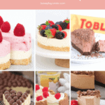 A Pinterest collage showing images of cheesecakes.