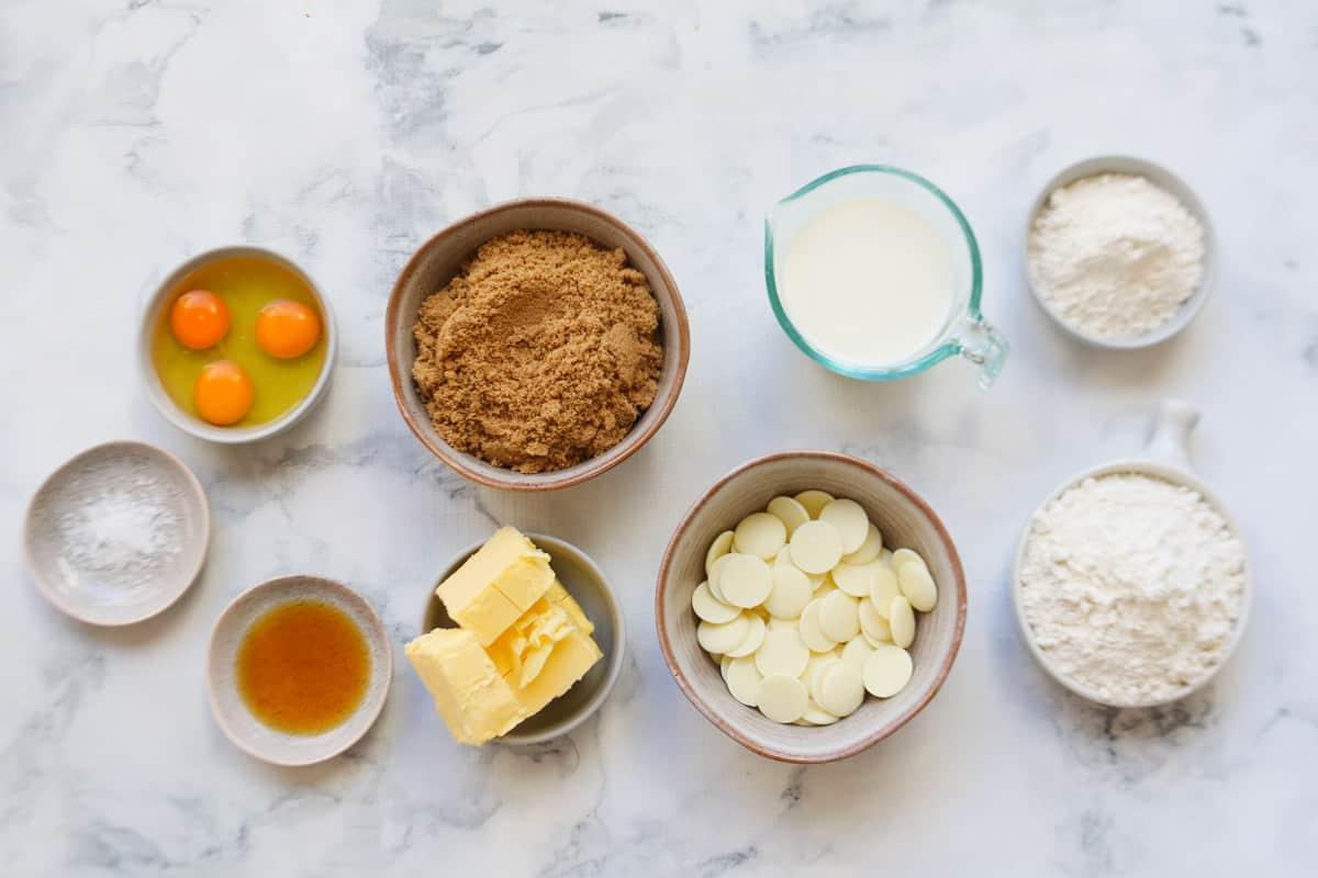 Ingredients for caramel mud cake in individual bowls
