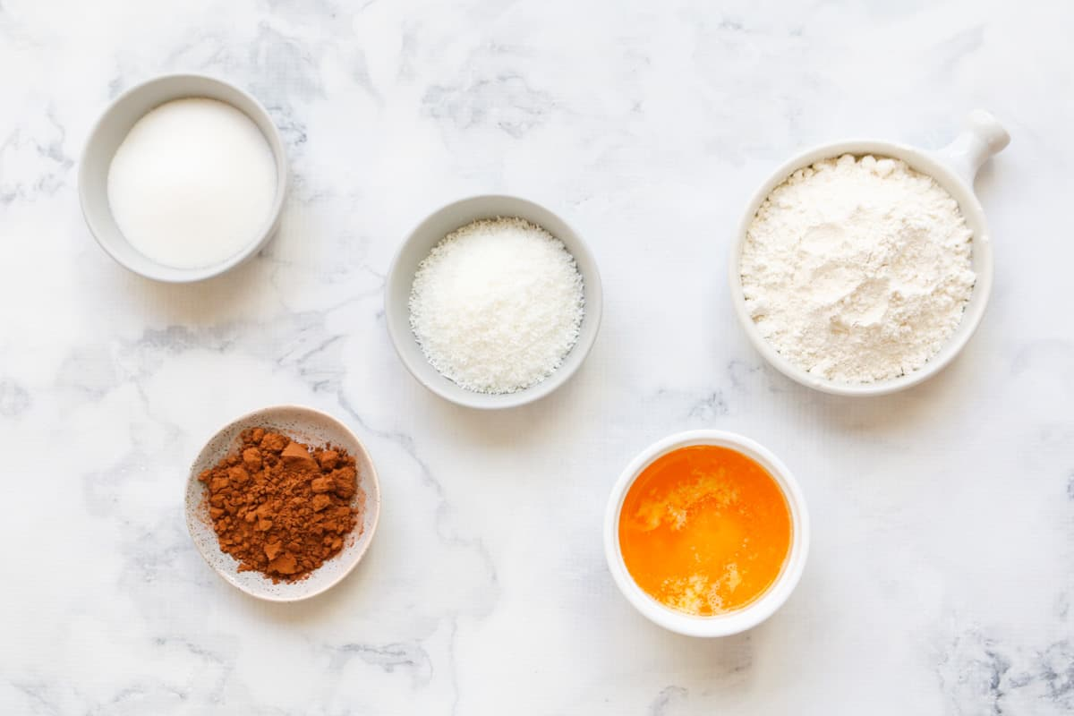 Ingredients for coconut rough base in separate bowls