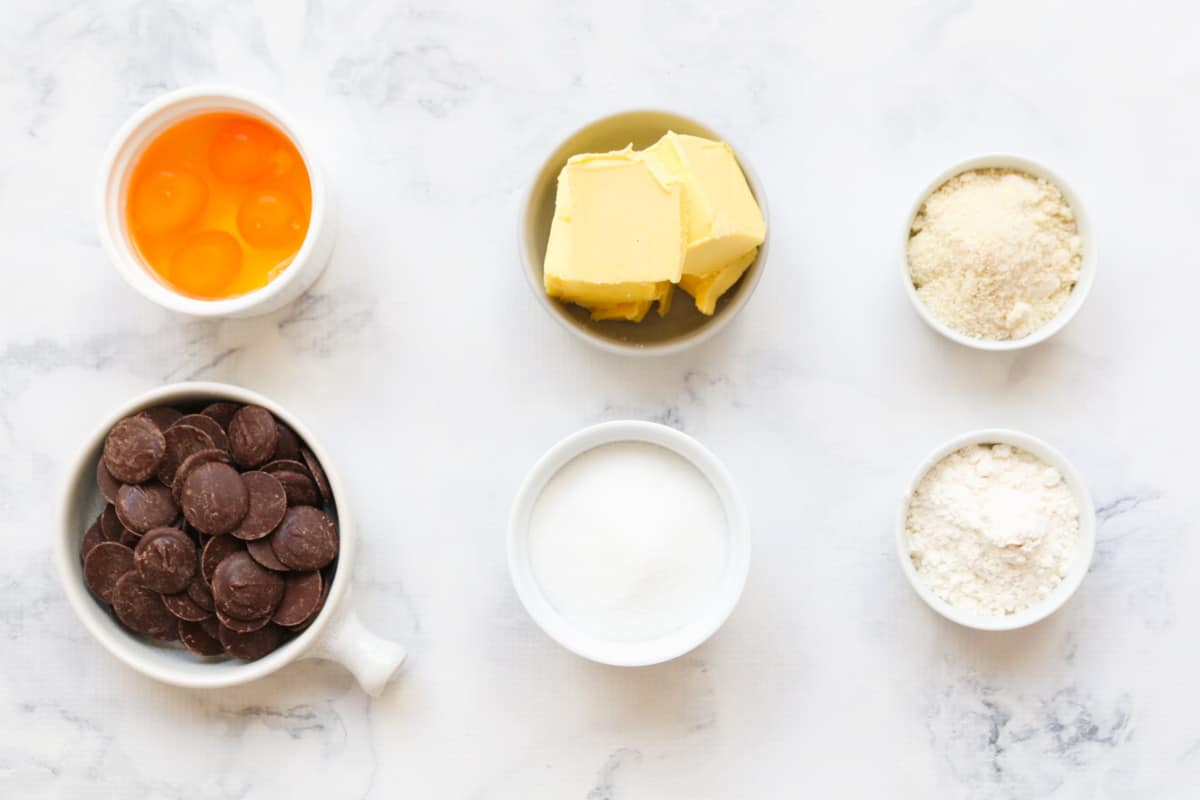 Ingredients for Chocolate & Almond Torte in individual bowls