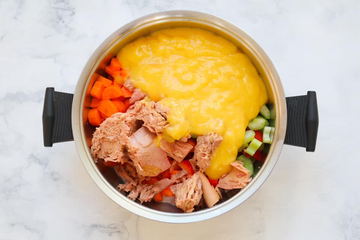 Chunks of tuna and vegetables with a cream of chicken soup mix in a pot