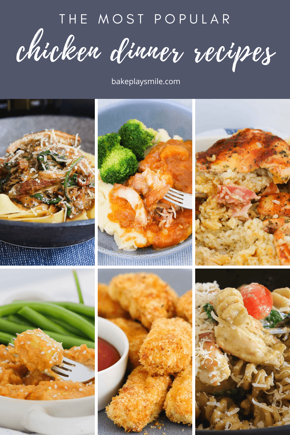 A Pinterest collage of 6 different chicken dinner recipes.