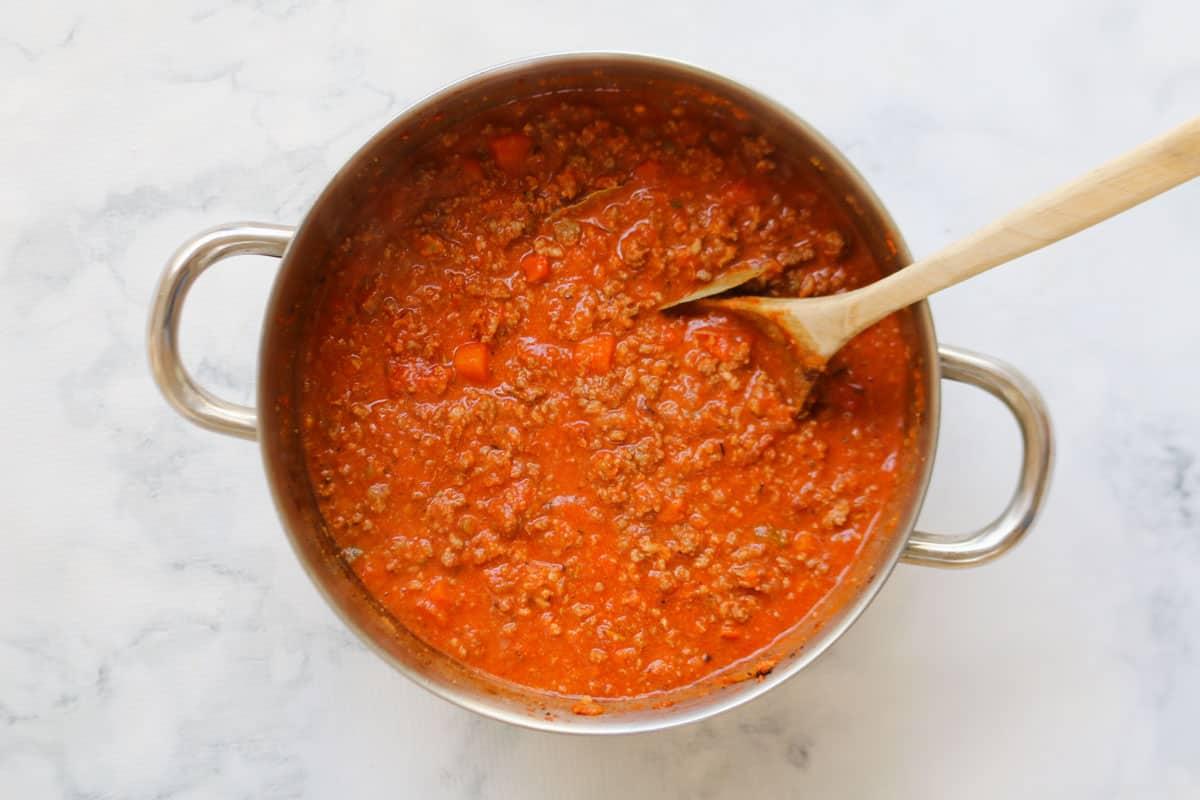 A pot of bolognese sauce.