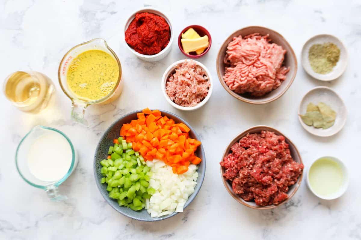 The ingredients for a classic Italian bolognese sauce in individual dishes