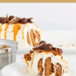 A serve of gingernut log decorated with Maltesers, Twix bars and drizzled with caramel sauce